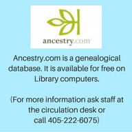 Ancestry.com is a genealogical database. It is available for free on Library computers. (For more in